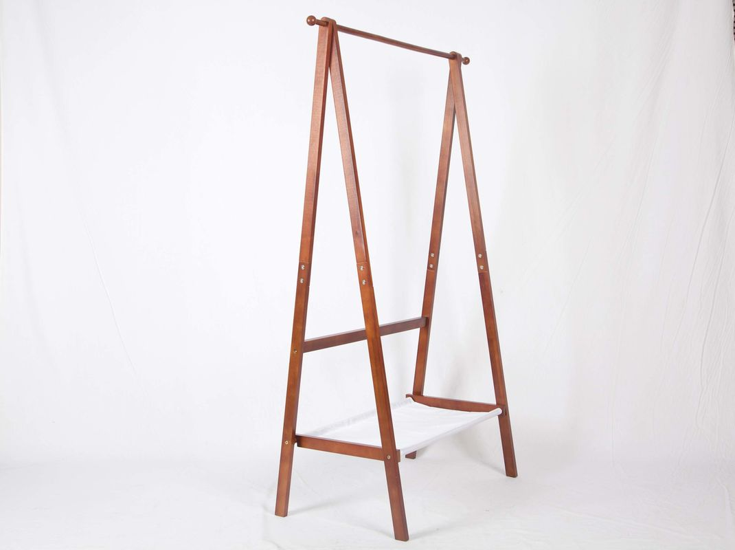 Foldable Wooden Coat Racks Free Standing , Hanging Clothes Rack With Fabric Storage Tier