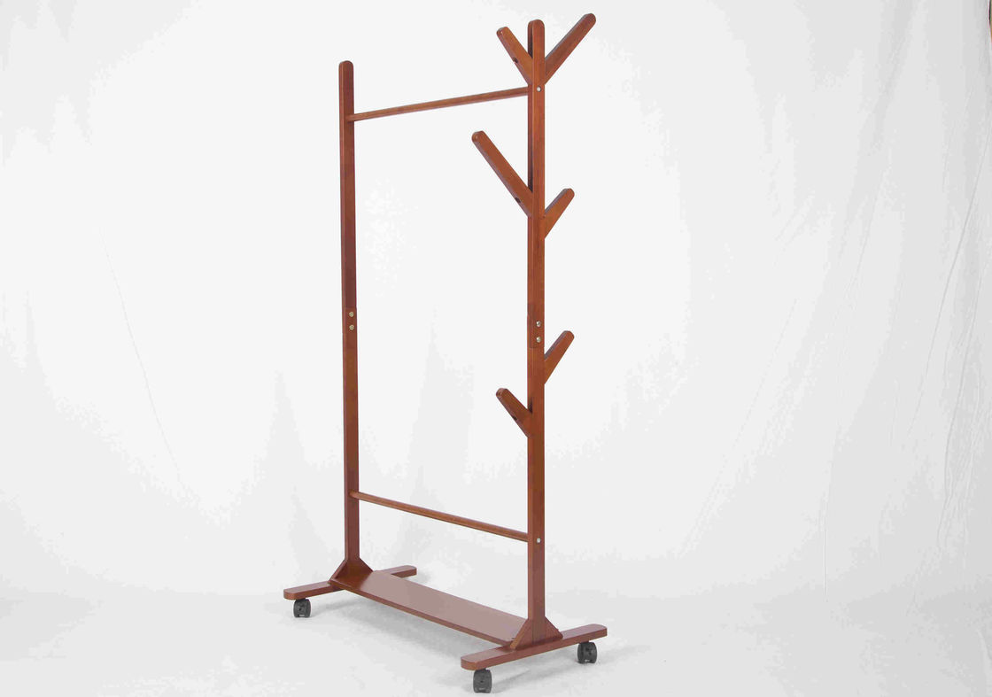 Soild Wood Tree Shape Coat Hanger Stand Shoe Shelf Bottom With Caster Wheels